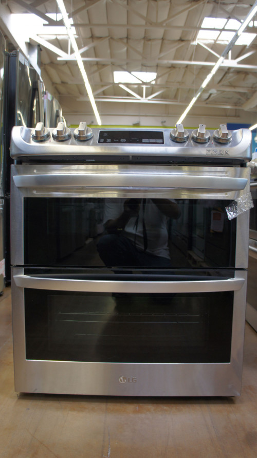 "30"" LG LTE4815ST 7.3 cu.ft. Slide-In Double Oven Electric Range"