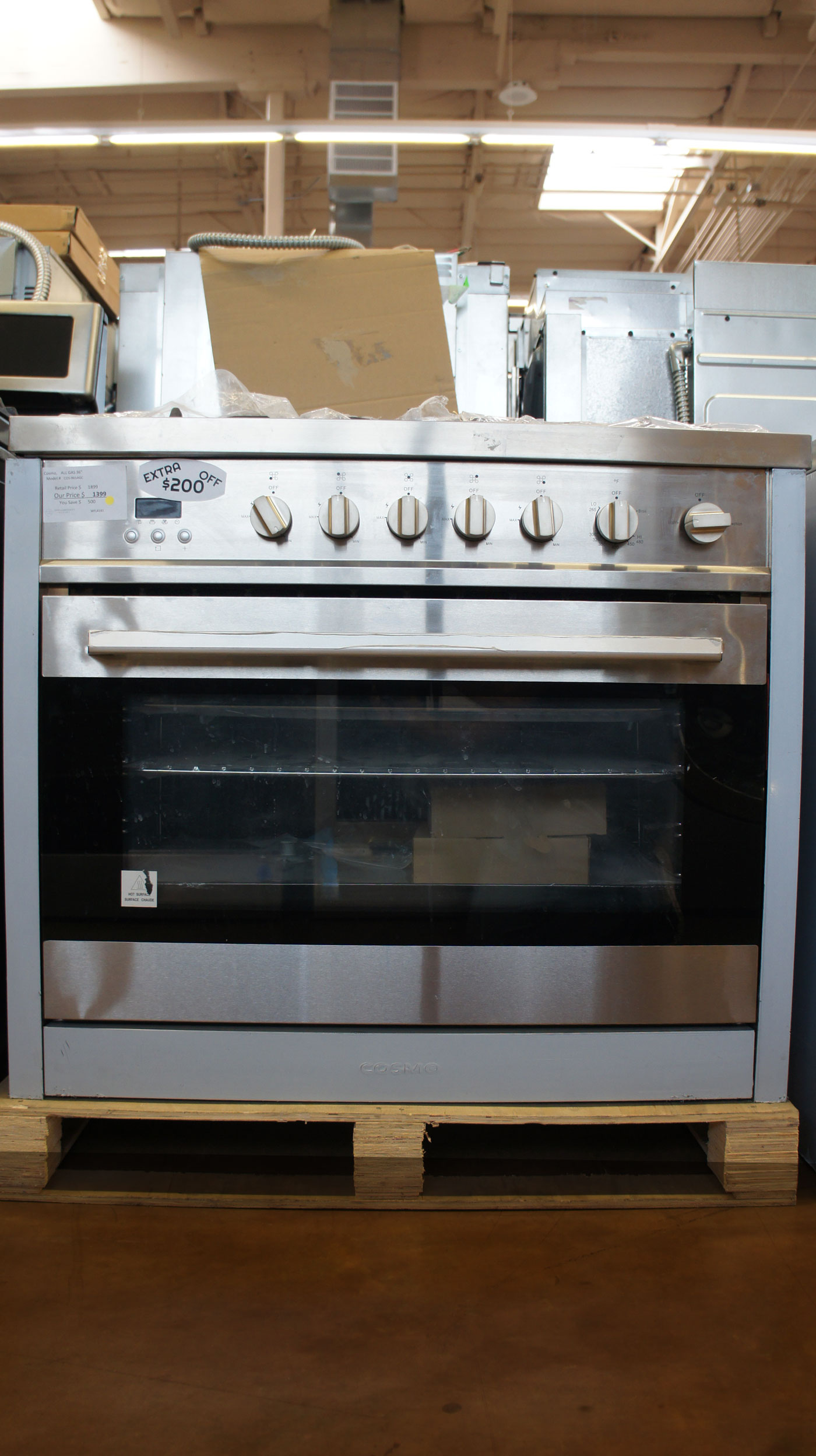 "36"" Cosmo COS965AGC Freestanding Single Oven Gas Range"