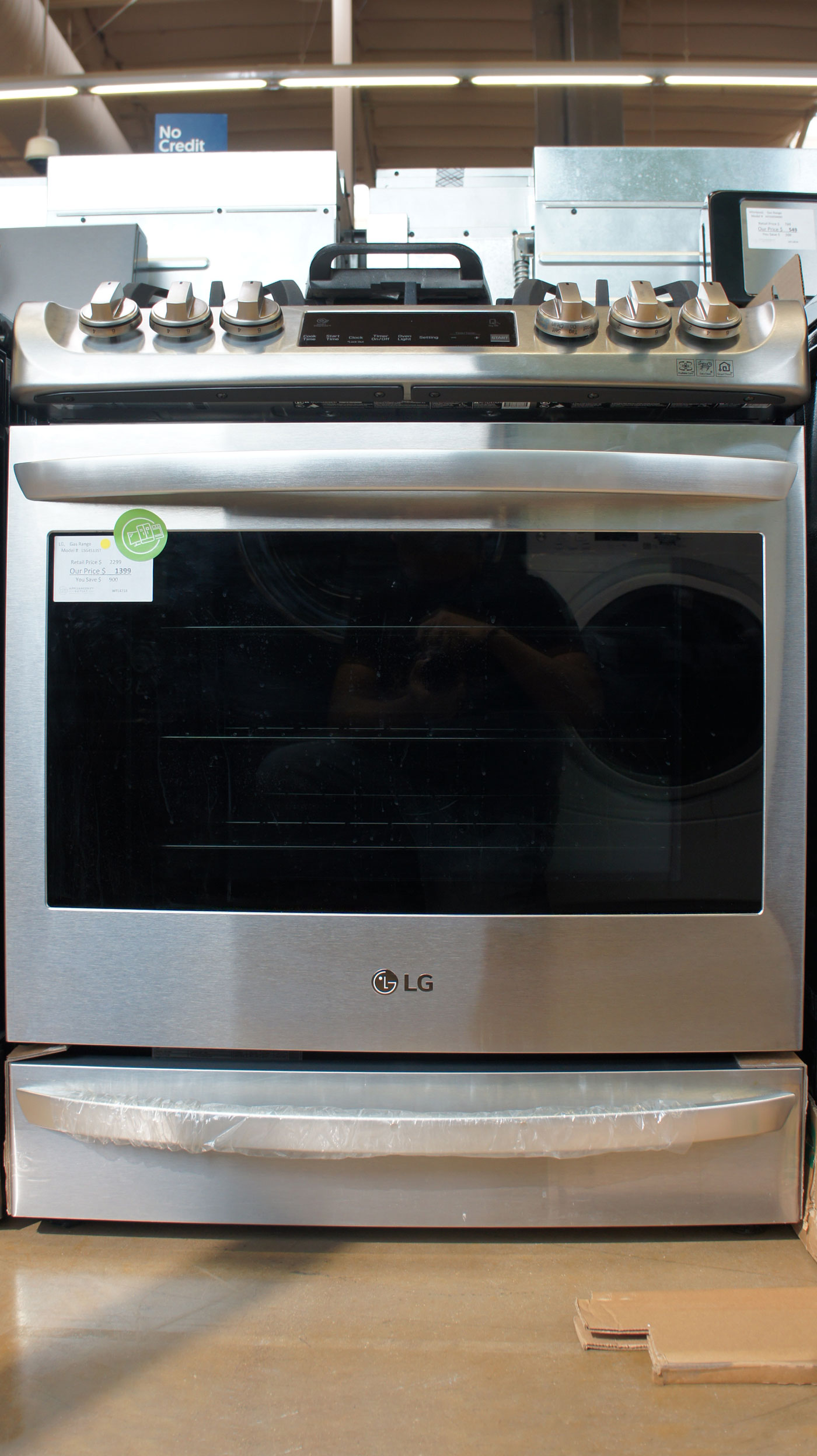 "30"" LG LSG4513ST 6.3cu.ft. Total Capacity Slide-In Gas Range"