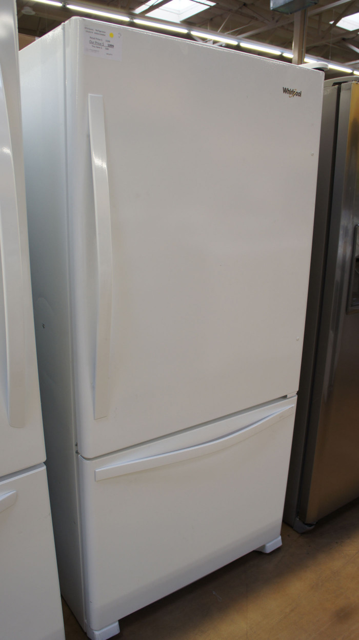 "33"" Whirlpool WRB322DMBW Bottom Freezer 21.9 cu.ft. Refrigerator"