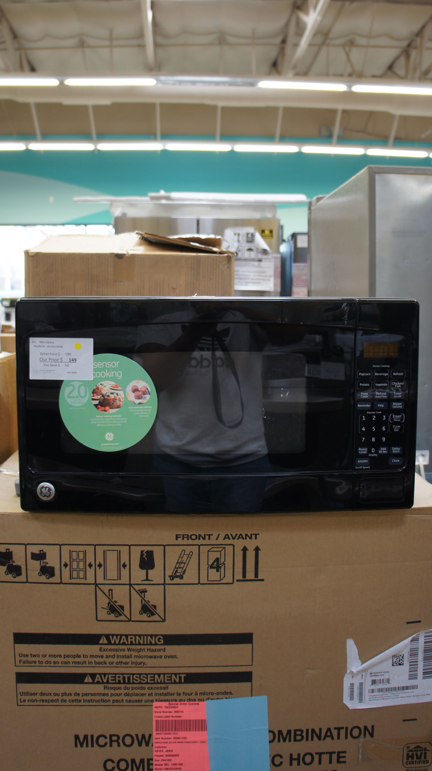 GE JES2051DNBB 1200 Watts Countertop Microwave Oven