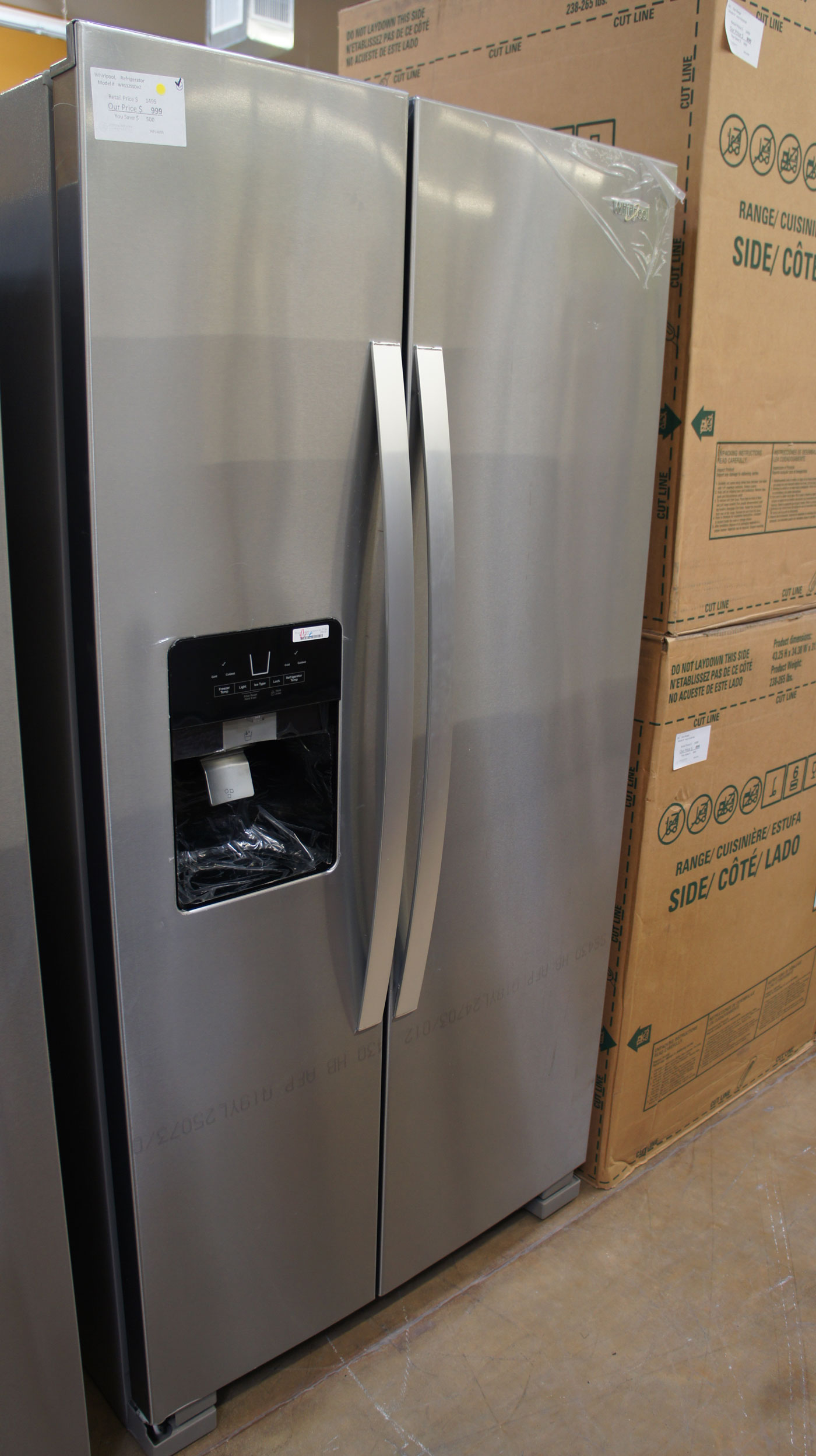"36"" Whirlpool WRS325SDHZ 24.6 cu.ft. Side-by-Side Refrigerator"