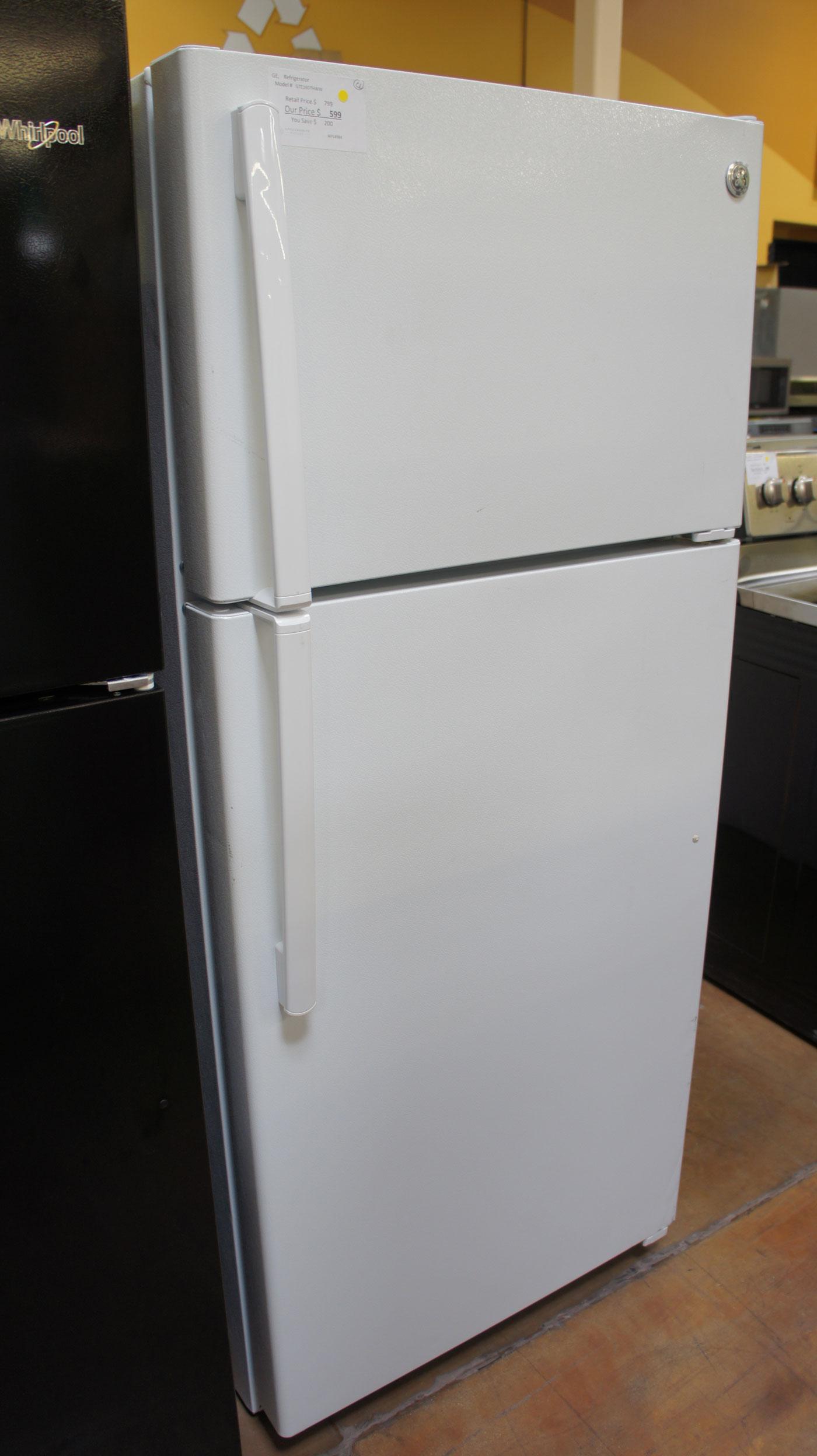 """28"""" GE GTE16DTHWW 15.5 cu.ft. Capacity Top-Freezer Refrigerator"""