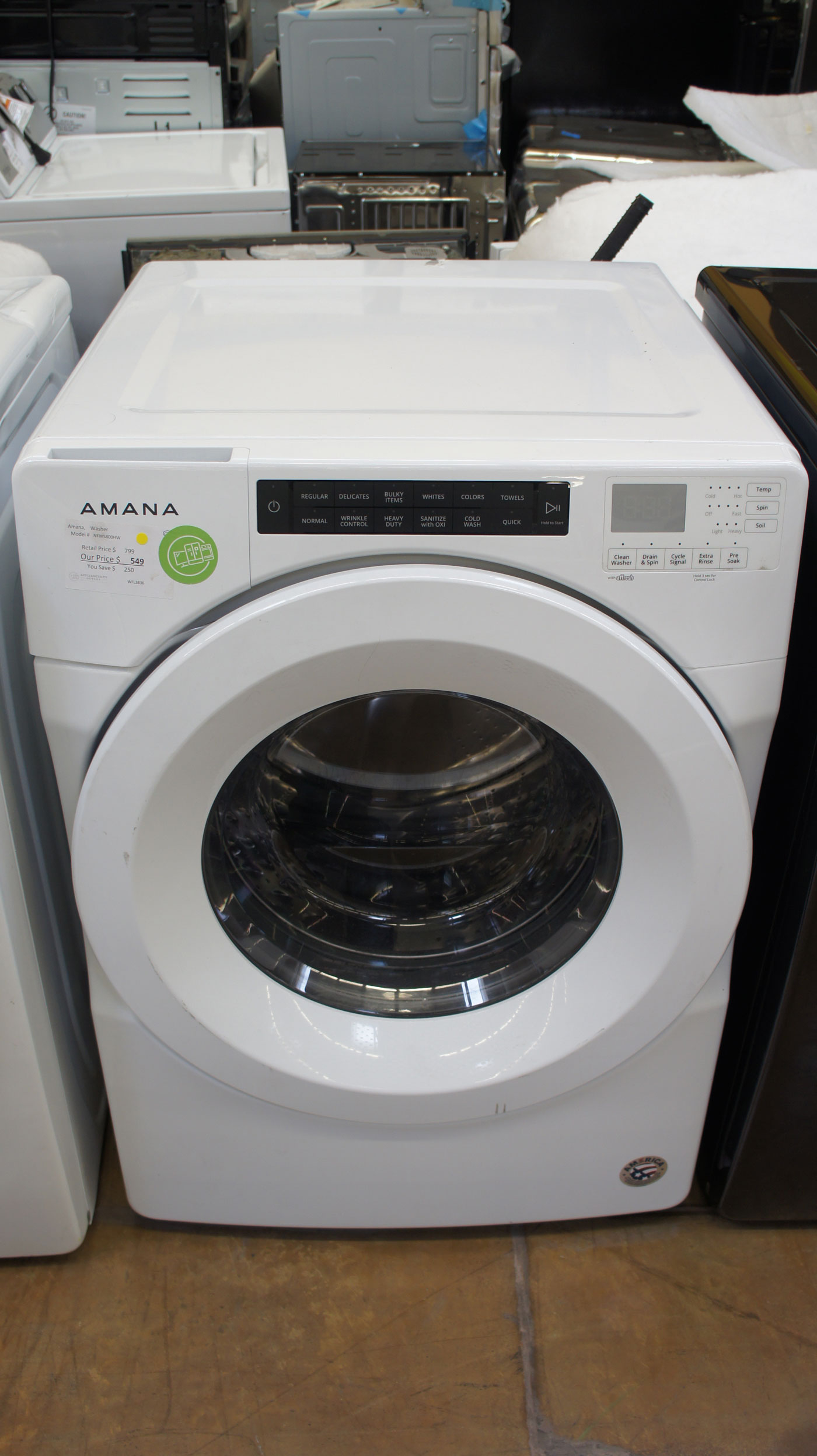 """27"""" Amana NFW5800HW 4.3 cu.ft. Capacity Front Load Washer"""