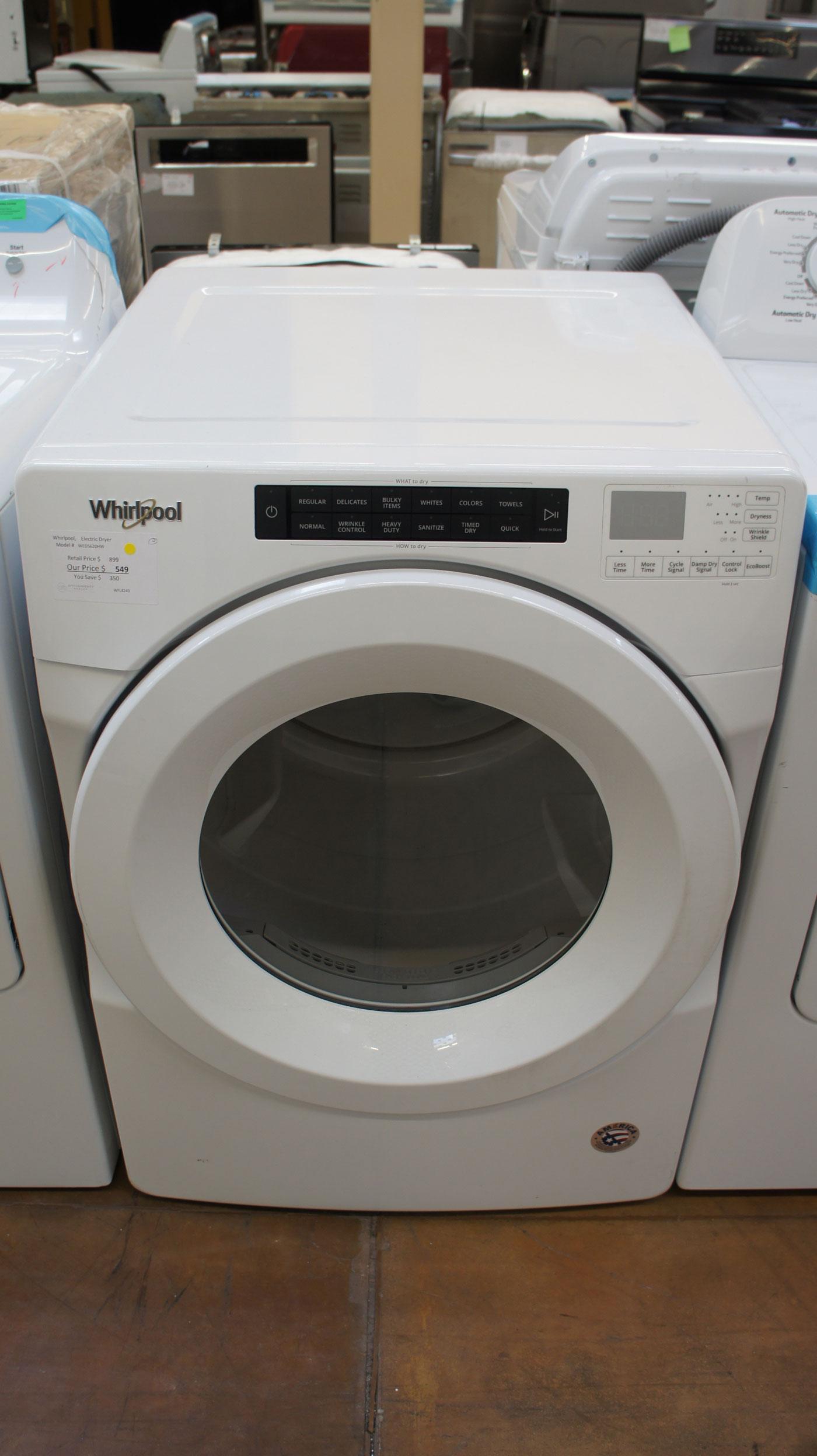 """27"""" Whirlpool WED5620HW 7.4 cu.ft. Capacity Electric Dryer"""