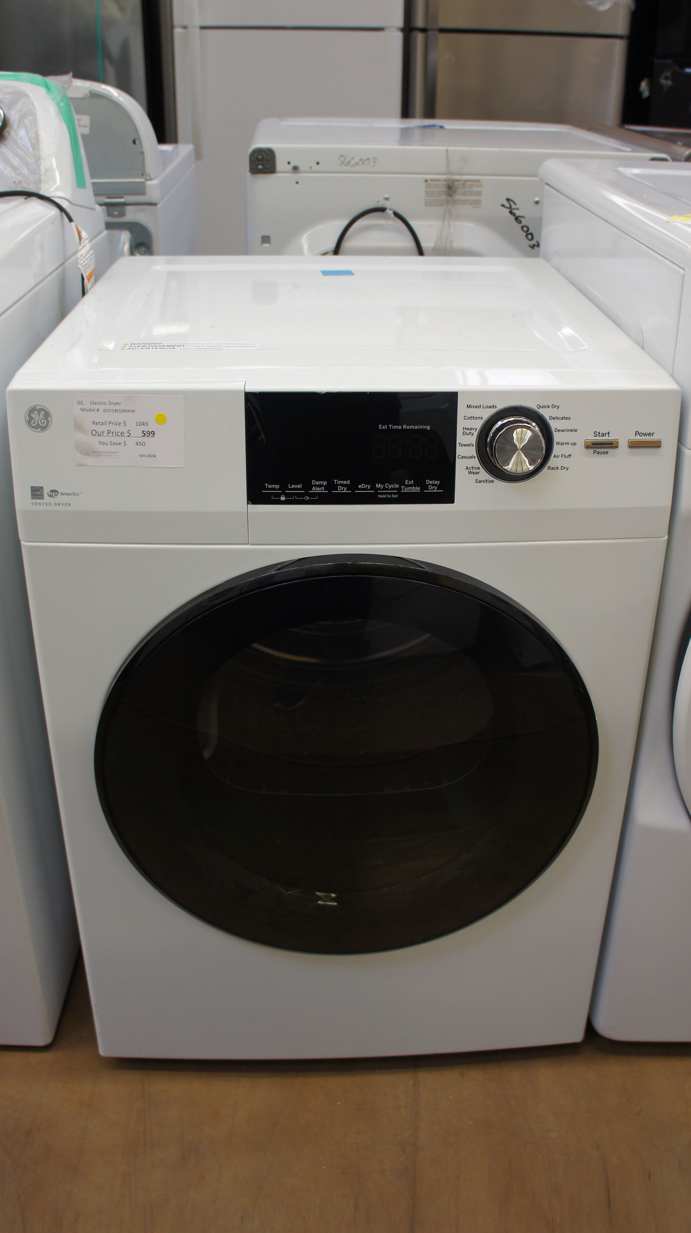 "24"" GE GFD14ESSNWW 4.3 cu.ft. Capacity Smart Electric Dryer"