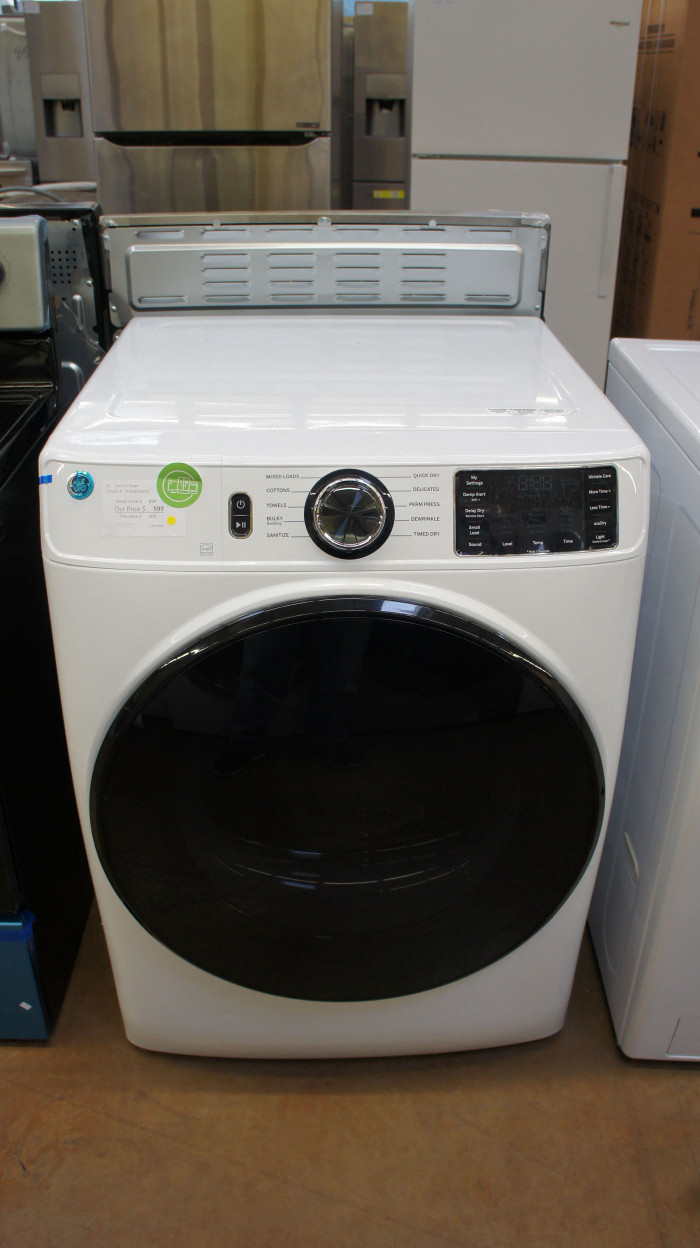 "28"" GE GFD55ESSNWW 7.8 cu.ft. Front Load Smart Electric Dryer"