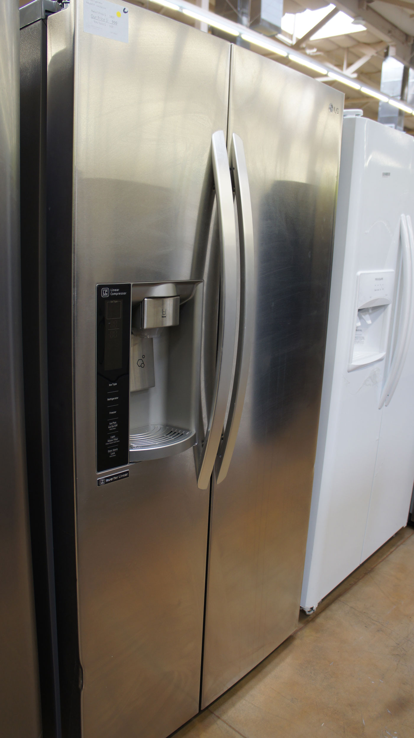 "36"" LG LSXS26326S 26.2 cu.ft. Side-By-Side Stainless Refrigerator"