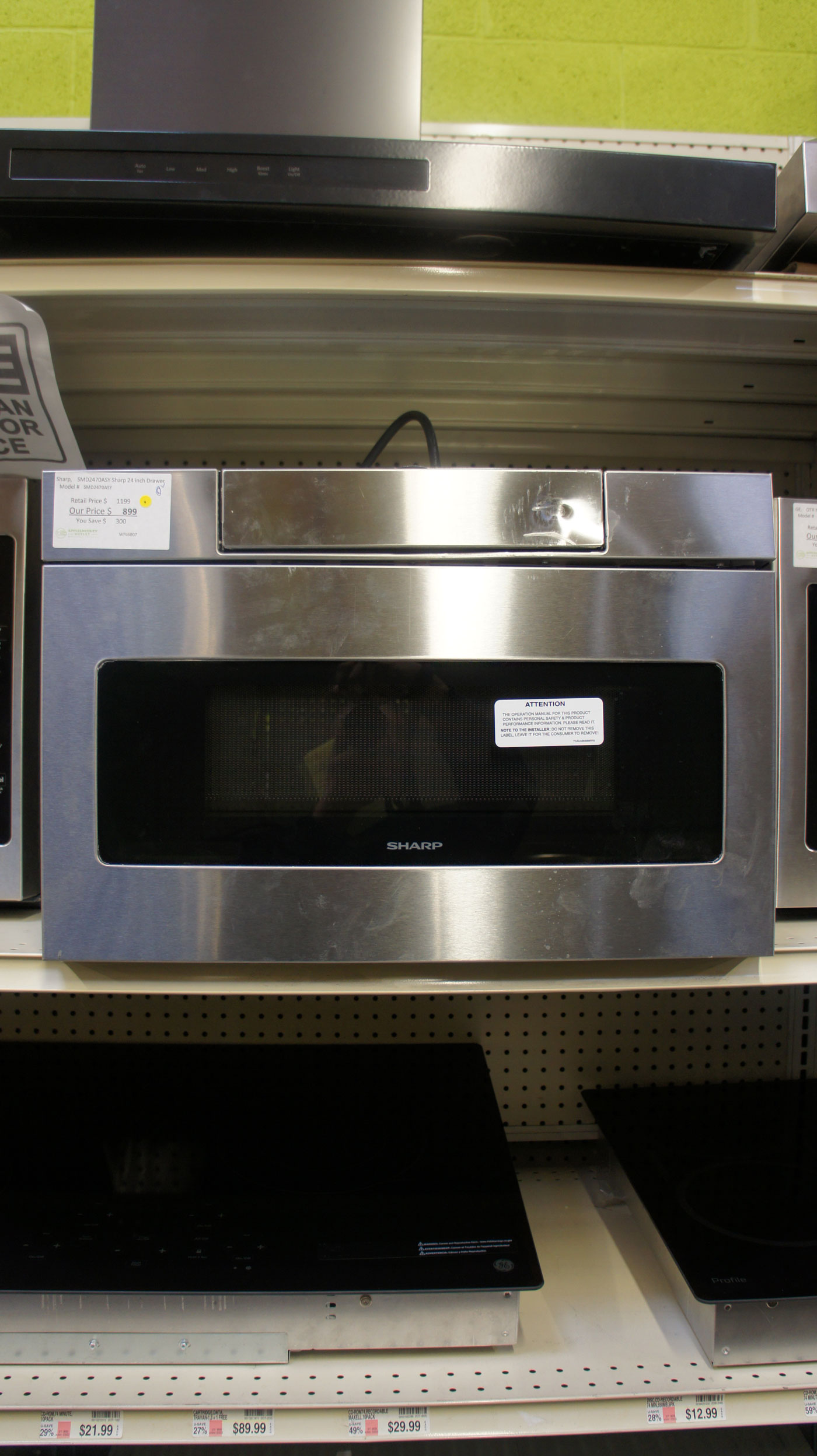 """24"""" Sharp SMD2470ASY 1.2 cu.ft. Microwave Drawer"""