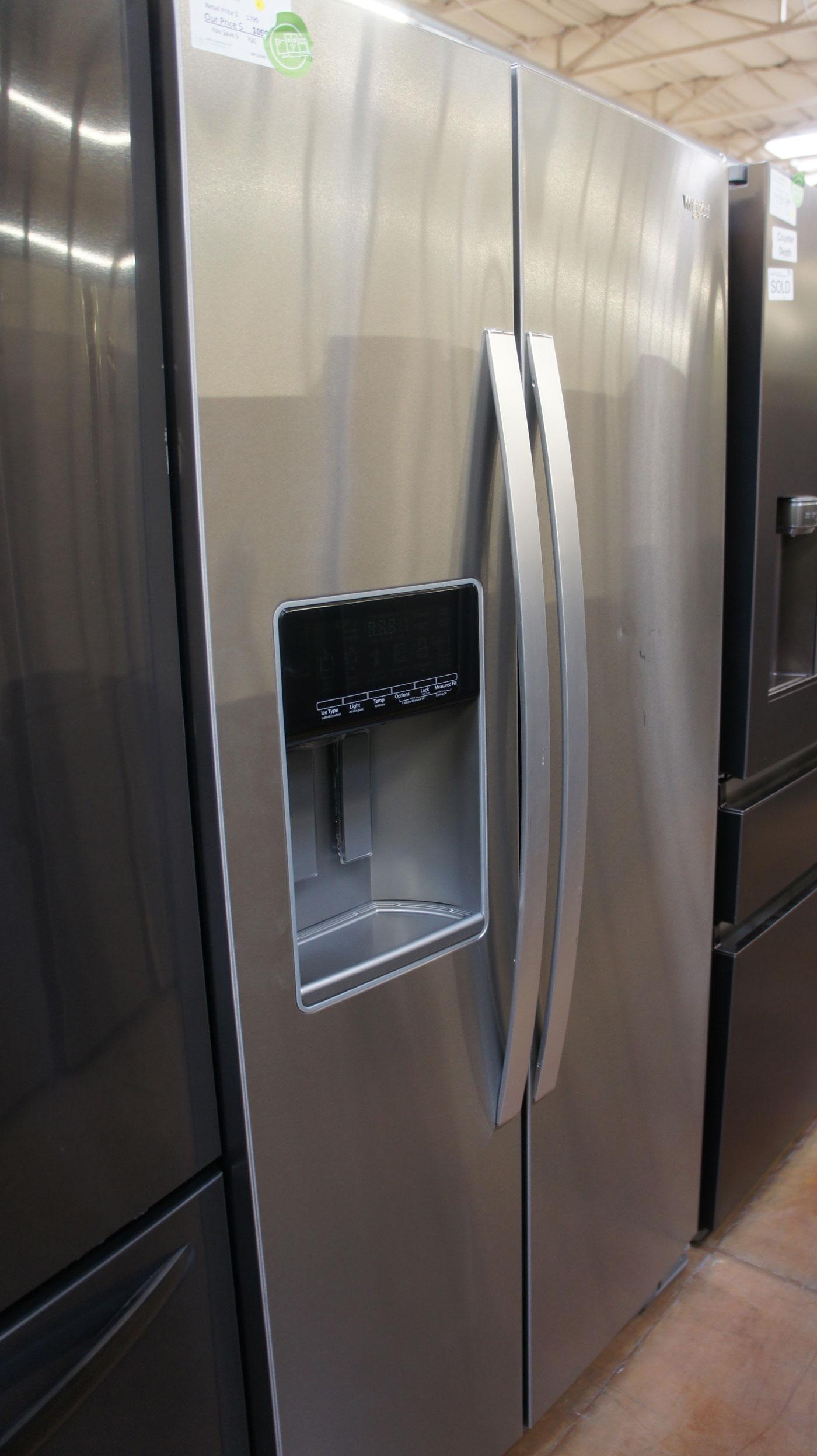 """36"""" Whirlpool WRS588FIHZ 28 cu.ft. Side-By-Side Refrigerator"""
