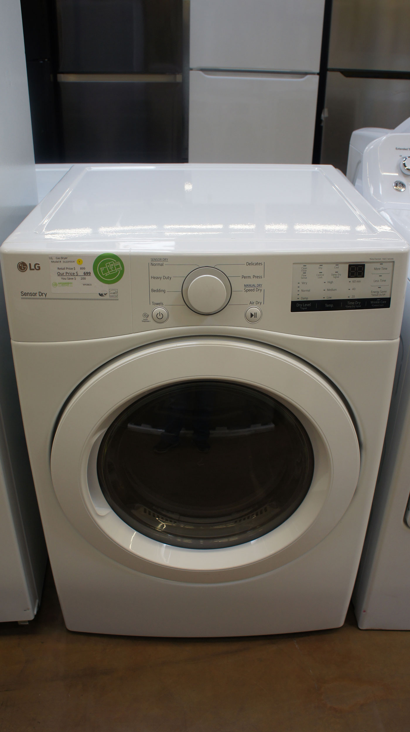 "27"" LG DLG3401W 7.4 cu.ft. Front Load Gas Dryer"