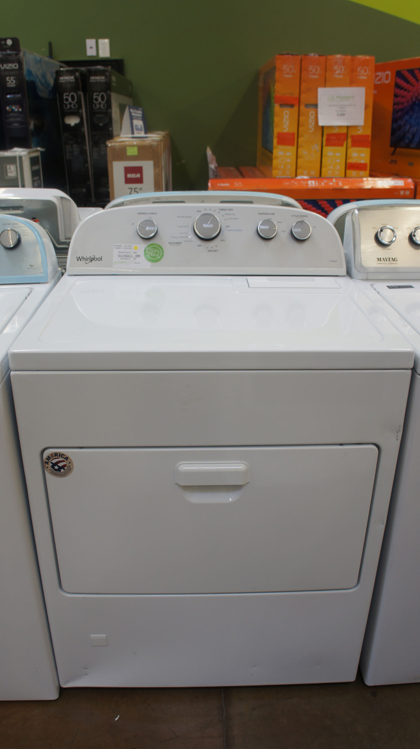 """30"""" Whirlpool WGD49STBW 7.0 Front Load Gas Dryer"""